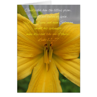 Luke 12:27 Yellow Lily Card