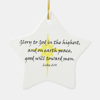 Luke 2:14 ceramic ornament