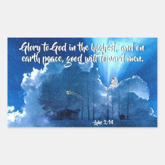 Luke 2:14 Glory to God, Christmas Nativity Rectangular Sticker
