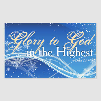 "Luke 2:14 ""Glory to God in the Highest"" Christmas Rectangular Sticker"