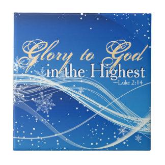 """Luke 2:14 """"Glory to God in the Highest"""" Christmas Tile"""