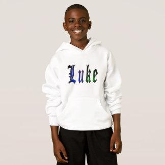 Luke, Name, Logo, Boys White Fleece Hoodie..