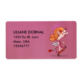 LULU ANGEL  CARTOON ÉTIQUETTE TAG 2 SHIPPING LABEL