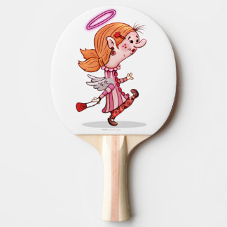 LULU ANGEL Cartoon Ping Pong Paddle,  Red Rubber