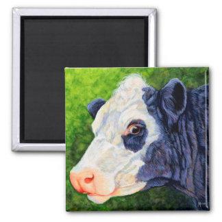 Lulu - Black Baldie Cow Square Magnet