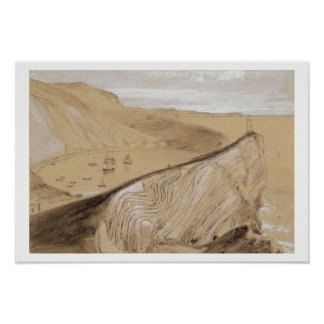 Lulworth Cove (w/c, gouache and graphite on beige Poster
