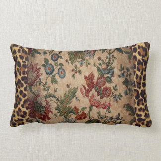 Lumbar Pillow in Leopard and floral fabric