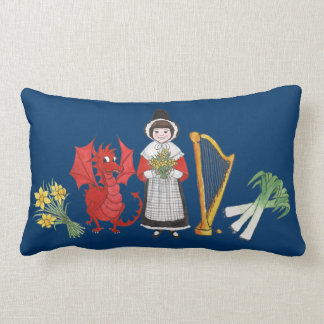 Lumbar Pillow: Welsh, Daffodils, Dragon Leeks Harp Lumbar Cushion