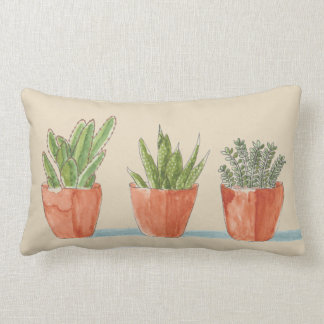 Lumbar Pillow with Three Potted Succulents