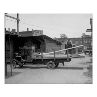 Lumber Delivery Truck, 1926. Vintage Photo Poster