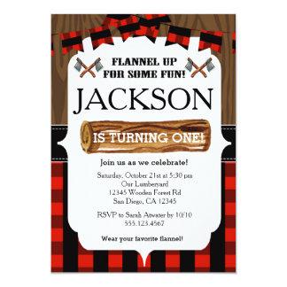 Lumberjack 1st Birthday Party Invitation