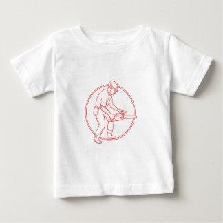 Lumberjack Arborist Chainsaw Circle Mono Line Baby T-Shirt
