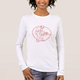 Lumberjack Arborist Chainsaw Circle Mono Line Long Sleeve T-Shirt