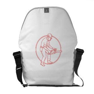 Lumberjack Arborist Chainsaw Circle Mono Line Messenger Bags