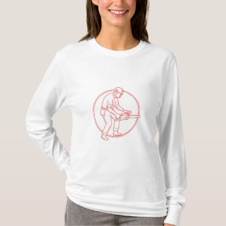 Lumberjack Arborist Chainsaw Circle Mono Line T-Shirt