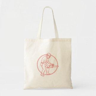 Lumberjack Arborist Chainsaw Circle Mono Line Tote Bag