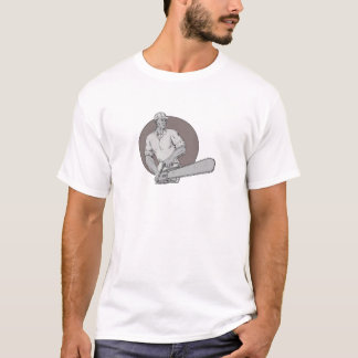 Lumberjack Arborist Holding Chainsaw Oval Drawing T-Shirt