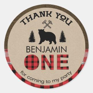 Lumberjack Bear 1st Birthday Favor Sticker