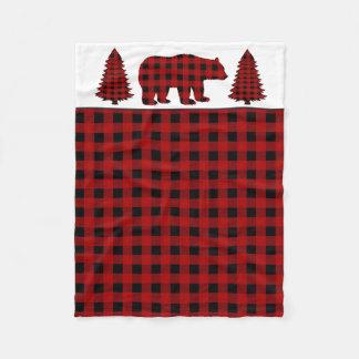 Lumberjack bear and trees baby boy blanket