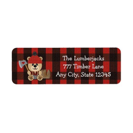 Lumberjack Bear Wilderness Themed Baby Shower Return Address Label