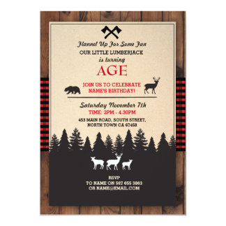 Lumberjack Birthday Invite ANY AGE Red Invite