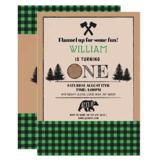 Lumberjack Birthday Party ONE First 1st Invite