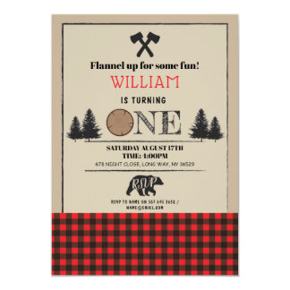 Lumberjack Birthday Party ONE First 1st Red Invite