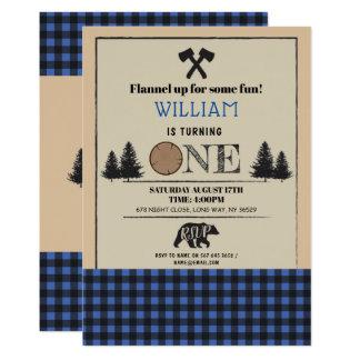Lumberjack Birthday Party ONE First Blue Invite