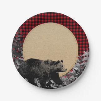 Lumberjack Buffalo Plaid Bear Rustic Cabin Paper Plate