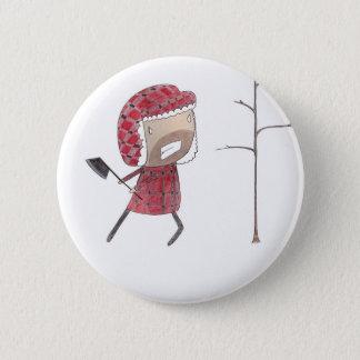 Lumberjack chops tree 6 cm round badge
