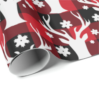 Lumberjack Country plaid reindeer Christmas wrap Wrapping Paper