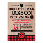 Lumberjack kids birthday, plaid rustic little man 13 cm x 18 cm invitation card