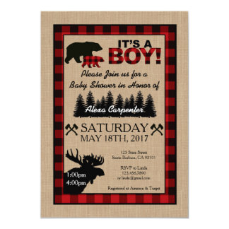 Lumberjack Little Hunter Baby Shower Invitation