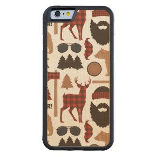 Lumberjack Pattern Carved Maple iPhone 6 Bumper Case