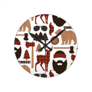 Lumberjack Pattern Round Clock