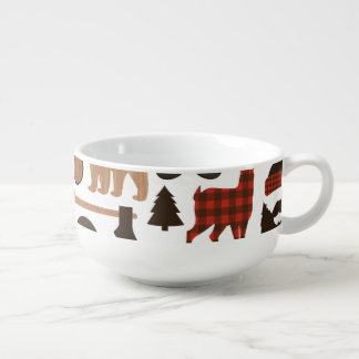 Lumberjack Pattern Soup Bowl With Handle