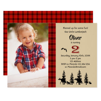 Lumberjack photo 2nd birthday party invitation