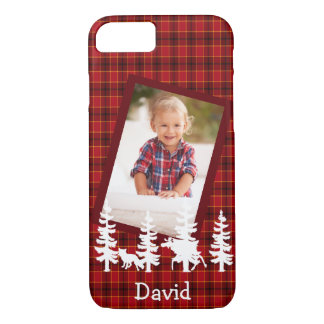 Lumberjack photo red plaid wildlife silhouhettes iPhone 8/7 case
