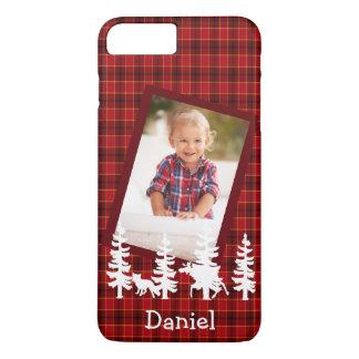 Lumberjack photo red plaid wildlife silhouhettes iPhone 8 plus/7 plus case