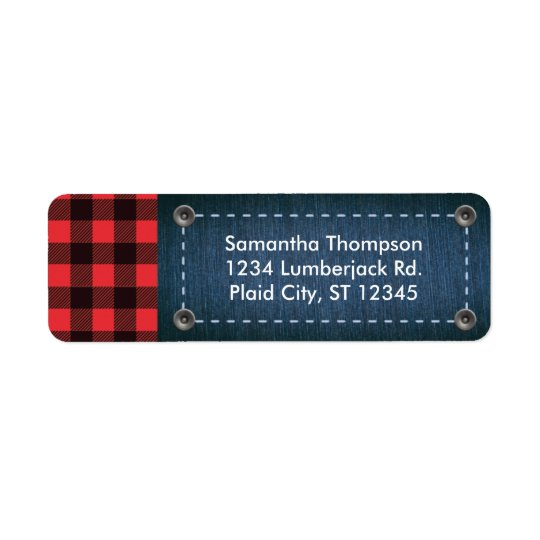 Lumberjack Plaid and Jean Address Label