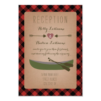 Lumberjack Plaid Canoe + Arrows Wedding Reception Card