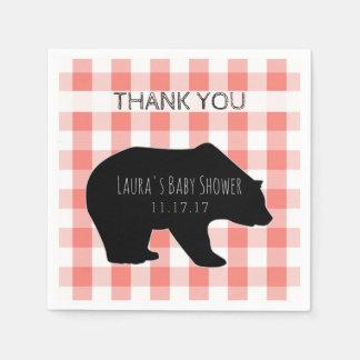 Lumberjack Plaid Coral Checks | Bear Baby Shower Paper Serviettes