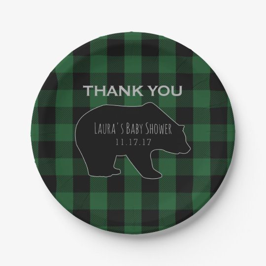 Lumberjack Plaid Green | Woodland Boy Baby Shower Paper Plate