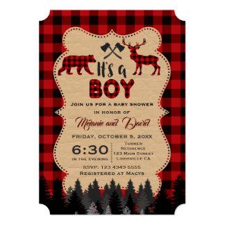 Lumberjack Red Buffalo Little Boy Baby Shower Card