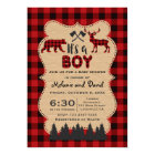 Lumberjack Red Buffalo Little Hunter Baby Shower Card