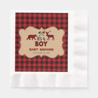 Lumberjack Red Buffalo Little Hunter Baby Shower Paper Serviettes