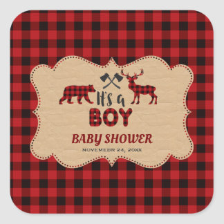 Lumberjack Red Buffalo Little Hunter Baby Shower Square Sticker