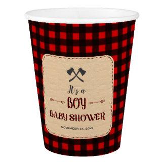 Lumberjack Red Buffalo Wild Hunter Baby Shower Paper Cup