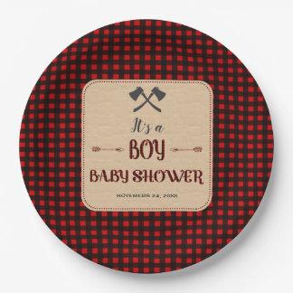 Lumberjack Red Buffalo Wild Hunter Baby Shower Paper Plate
