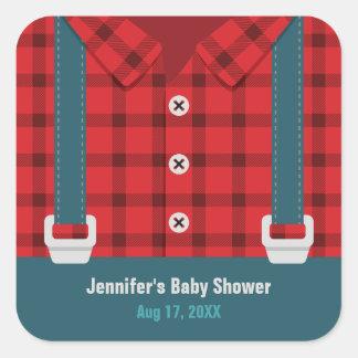 Lumberjack Red Plaid Denim Baby Shower Stickers